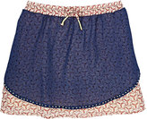 Scotch R'Belle GEOMETRIC-PRINT DOUBLE-LAYER MINISKIRT-NAVY SIZE 16