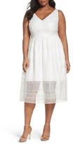 Adrianna Papell Plus Size Women's Tea-Length Lace Dress