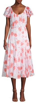 Rebecca Taylor Louise Floral Midi A-Line Dress