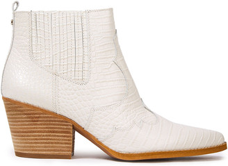 Sam Edelman Winona Croc-effect Leather Ankle Boots