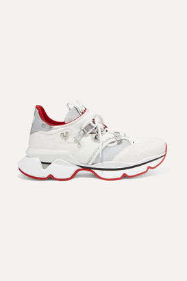 Christian Louboutin Red Runner Donna Glittered Mesh And Leather Sneakers - White