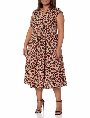 Anne Klein Women's Size Plus Cap Sleeve Drawstring MIDI Dress