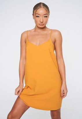 Missguided Mustard Crepe Cami Shift Dress