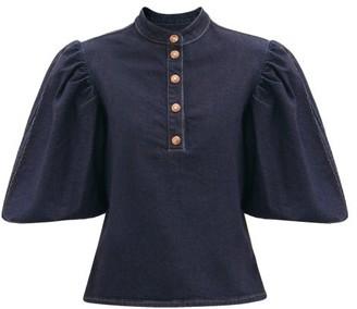 See by Chloe Puffed-sleeve Cotton-blend Denim Blouse - Denim
