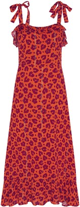Fabienne Chapot - Carmen Dress in Lolita Leopard Orange - Medium | rayon
