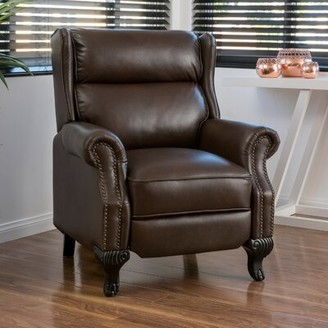 "Three Posts Andress 20"" Manual Recliner Upholstery Color: Dark Brown Faux Leather"
