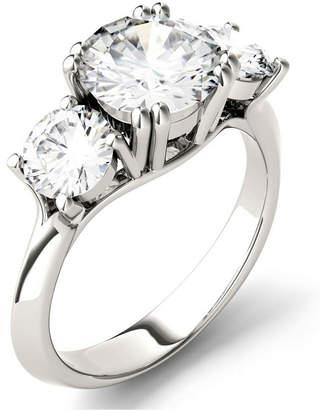 Charles & Colvard Moissanite Round Three Stone Ring (3-1/10 ct. tw.) in 14k White Gold