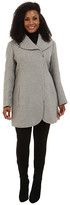 Jessica Simpson Plus Size Asymmetrical Braided Wool Coat with Shawl Collar