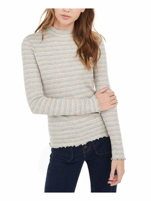 Hippie Rose Womens Gray Striped Long Sleeve Turtle Neck Blouse Top Juniors Size: XL