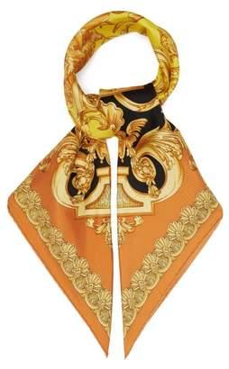 Versace Barocco Femme Print Silk Twill Scarf - Womens - Gold