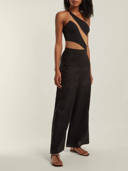 Thumbnail for your product : Norma Kamali Mio One-shoulder Mesh Panelled Swimsuit - Black Nude