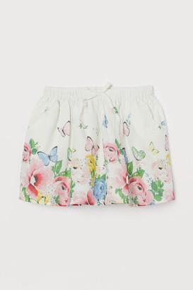 H&M Patterned Cotton Skirt - Beige