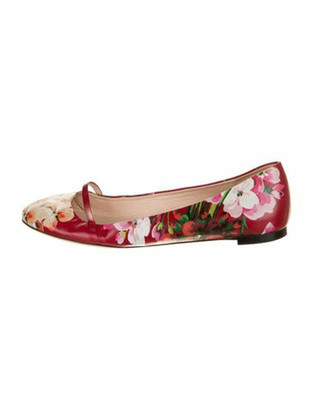 Gucci Shanghai Blooms Leather Ballet Flats Red