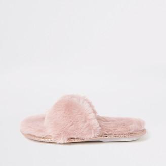 River Island Girls Pink faux fur diamante slippers