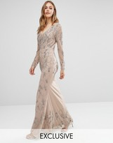 Maya Longsleeve Maxi Dress with Delicate Embellishment and Fishtail