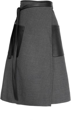 Peter Do Apron Double-Faced Wool Midi Wrap Skirt