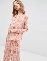 Asos Wrap Front Pajama Blouse in Floral Co Ord