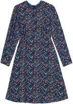Cath Kidston Zigzag Floral Silk Tea Dress