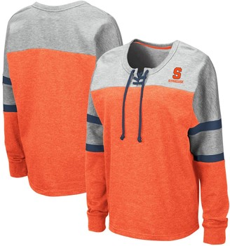 Colosseum Women's Orange Syracuse Orange Manolo Lace-Up French Terry Pullover Sweatshirt