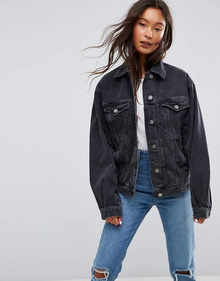 Asos DESIGN denim girlfriend jacket in washed black