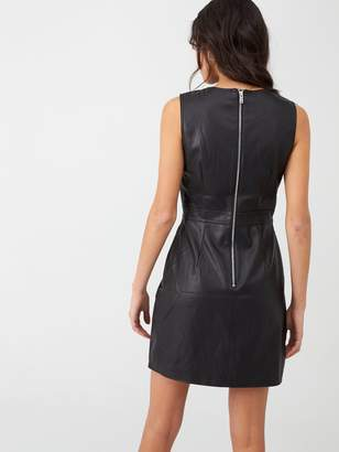 Warehouse PU Pinny Dress - Black
