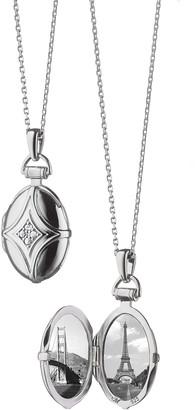 Monica Rich Kosann White Sapphire Quatrefoil Locket Necklace