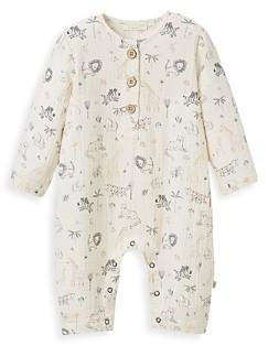 Elegant Baby Boys' Safari Print Organic Cotton Muslin Coverall - Baby