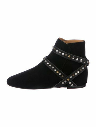 Etoile Isabel Marant Suede Cutout Accent Boots Black