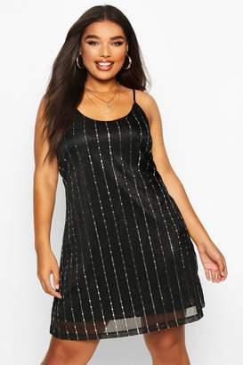 boohoo Plus Sequin Stripe Cami Dress