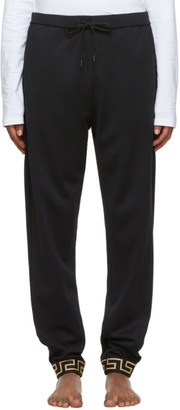 Versace Underwear Black Greek Key Cuff Lounge Pants