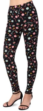 Planet Gold Juniors' Printed Candy Cane Holiday Leggings