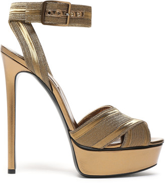 Casadei Metallic Woven Leather Platform Sandals