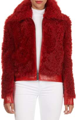 Michael Kors Collection Leather-Trim Lamb Shearling Fur Bomber Jacket