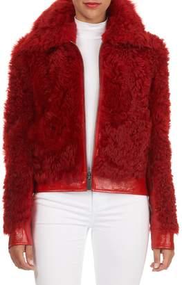 Michael Kors Leather-Trim Lamb Shearling Fur Bomber Jacket