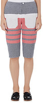 Harvey Faircloth HARVEY FAIRCLOTH WOMEN'S STRIPED COTTON-BLEND LEATHER-TRIMMED SHORTS SIZE 2