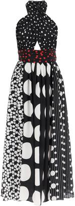 Dolce & Gabbana PATCHWORK SILK DRESS 42 Black, White, Red Silk