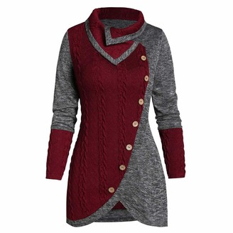 YBWZH Women Dresses Women Pullover Top Ladies Plus Size Solid Pachwork Asymmetric Hem Jumpers Tops Botton O-Neck Long Sleeve Knitwear Sweater Red