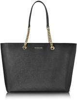 Michael Kors Jet Set Travel Chain Medium Black T/Z Saffiano Leather Multifunction Tote