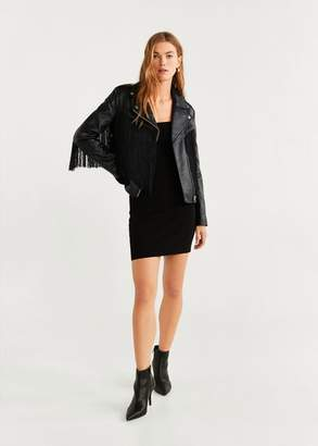 MANGO Fringe leather jacket black - XS - Women