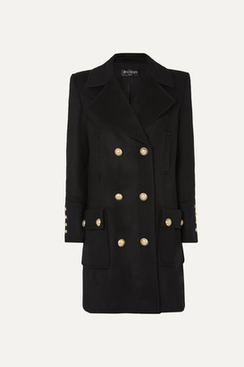Balmain Button-embellished Double-breasted Wool And Cashmere-blend Coat - Black