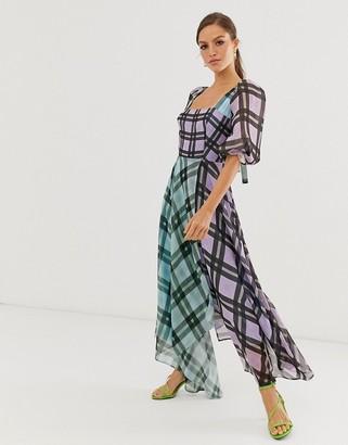 Asos EDITION off shoulder midi dress in mixed check print