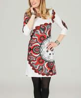 Aller Simplement White & Red Arabesque Scoop Neck Dress