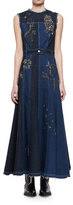 Alexander McQueen Embroidered Mixed-Denim Midi Dress
