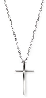 Bloomingdale's 14K White Gold Small Cross Pendant Necklace, 18 - 100% Exclusive