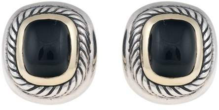 David Yurman Sterling Silver 14K Yellow Gold Onyx Earrings
