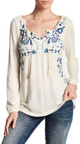 Lucky Brand Embroidered Split Neck Blouse