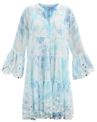 Juliet Dunn Tie-dye And Embroidered Tiered Cotton Mini Dress - Blue White