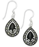 Macy's Onyx (1-9/10 ct. t.w.) and Marcasite Drop Earrings in Fine Silver-Plate