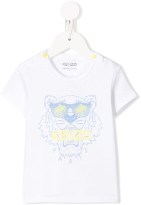 Kenzo Kids Tiger logo print side buttoned T-shirt