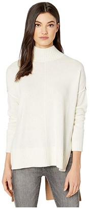 BCBGMAXAZRIA Mock Long Sleeve Pullover Sweater (Gardenia Combo) Women's Clothing